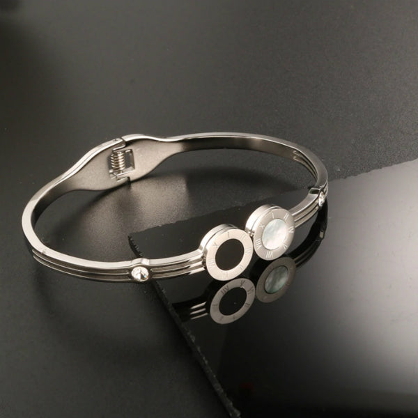 Cassia Black + White Bangle Bracelet - Stainless Steel