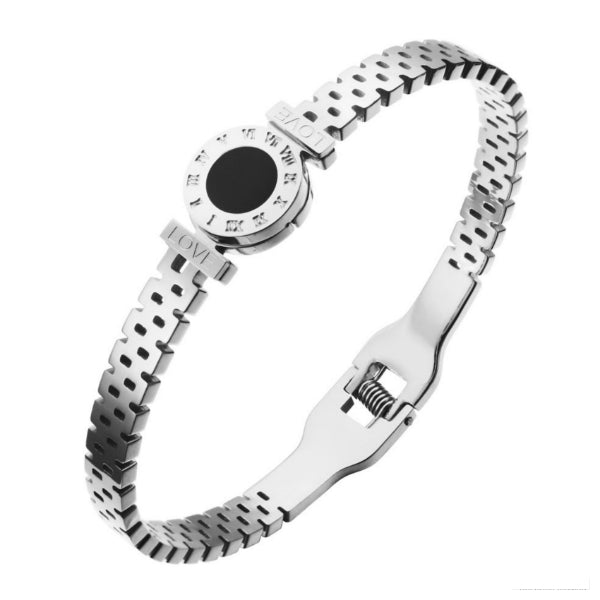 Cassia Ornate Bangle Bracelet - Stainless Steel