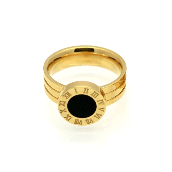 Cassia Ring w/ Roman Numerals - Stainless Steel