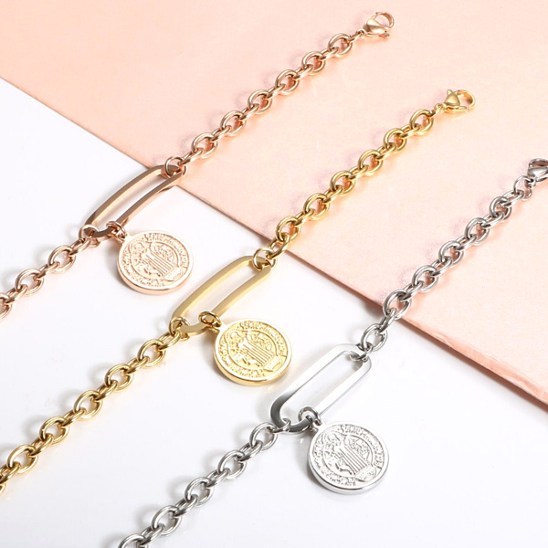 Coin Charm Bracelet - Stainless Steel