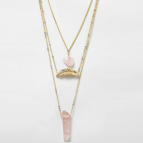 Cora Layered Dainty Necklace w/ Natural Stone