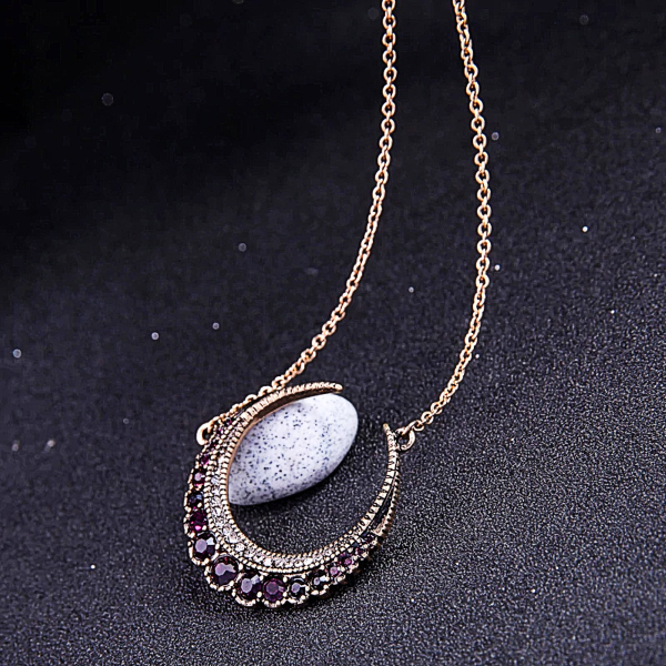 Crescent Dainty Necklace w/ Stones