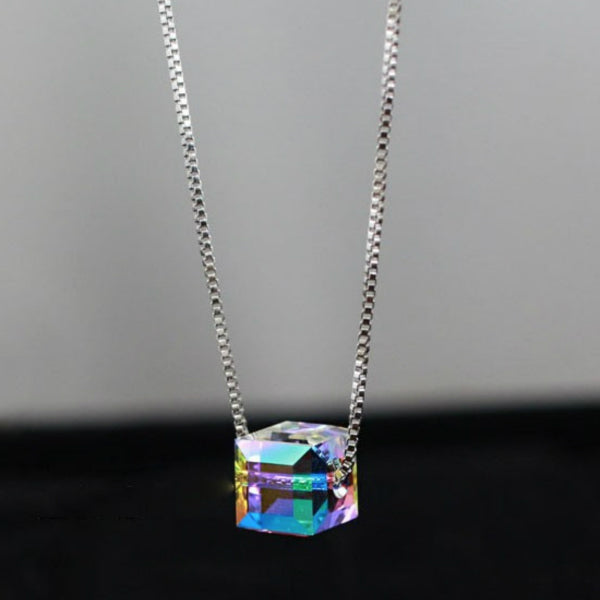 Crystal Cube Dainty Necklace - Sterling Silver