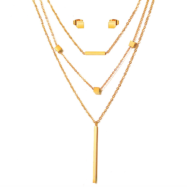 Cubes and Bars Layered Necklace Set - Stainless Steel