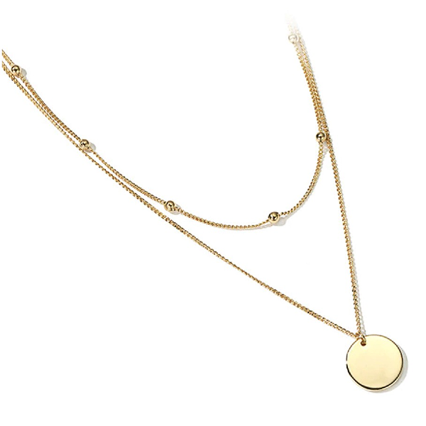 Disc Layered Necklace - Stainless Steel