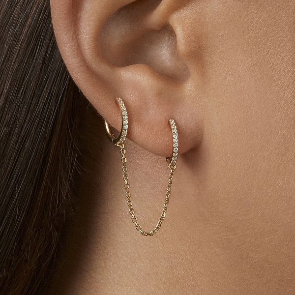 Double Hole Chain Earring