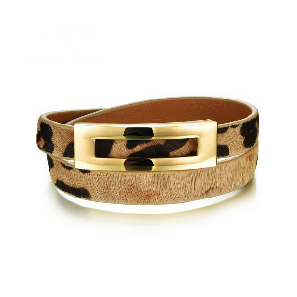 Double Wrap Animal Print Bracelet
