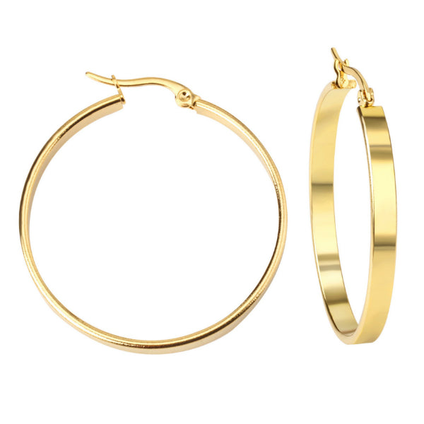 Flat Hoop Earrings - Stainless Steel