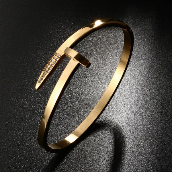 Flat Nail Bangle Bracelet - Stainless Steel