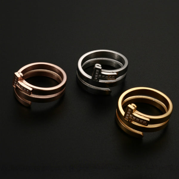 Flat Nail Ring - Stainless Steel