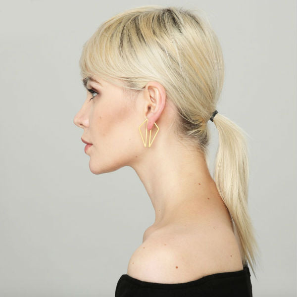 Geometric Front and Back Earrings - Stainless Steel