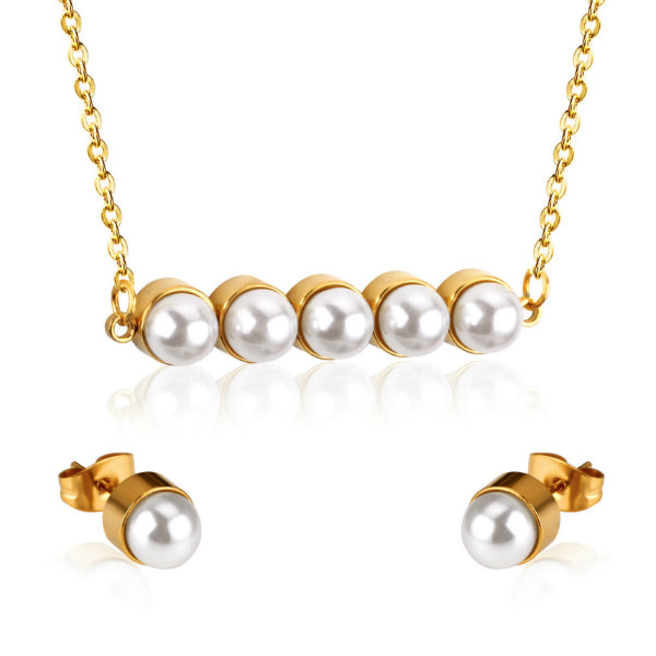 Grand Pearl Necklace + Earrings Set - Stainless Steel