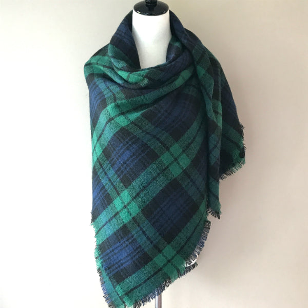 Green and Navy Blue Blanket/Triangle Scarf