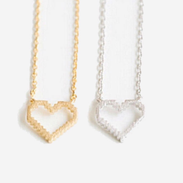 Pixel Heart Dainty Necklace