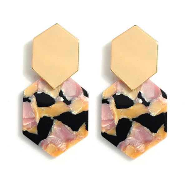 Hexagon Resin Earrings