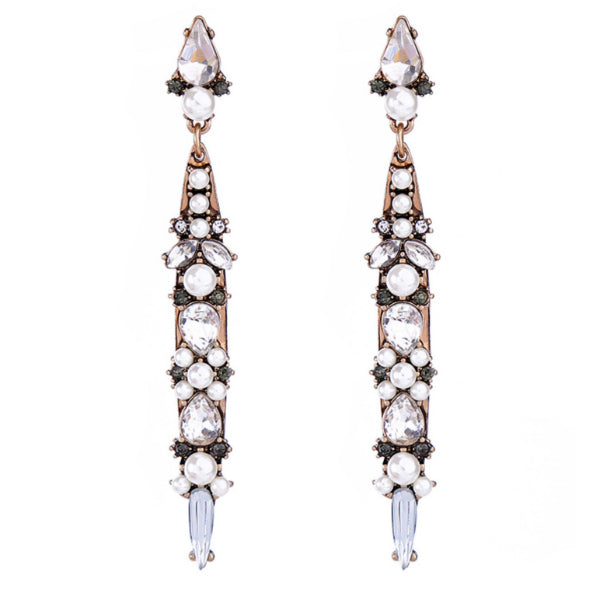 Kiara Long Crystals + Pearls Earrings