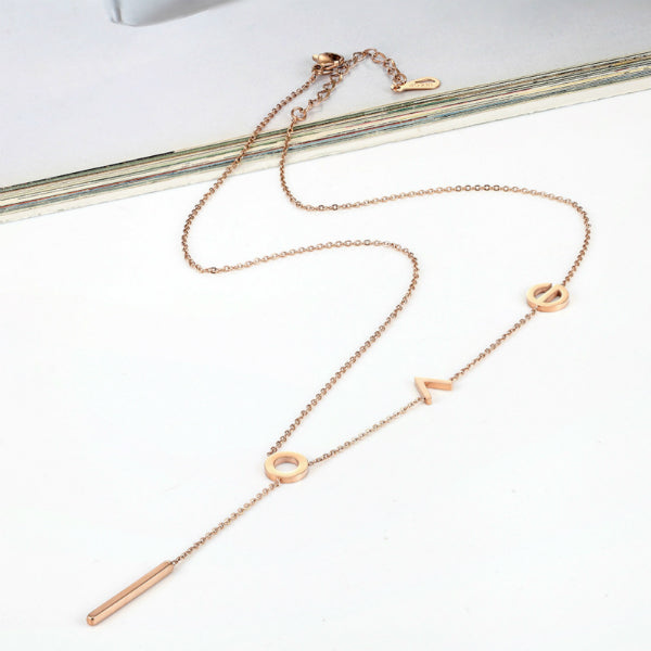 L O V E Lariat Dainty Necklace - Stainless Steel