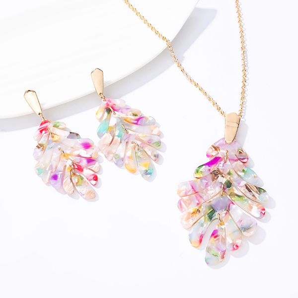 Leaf Necklace and Earrings Set - Pastel