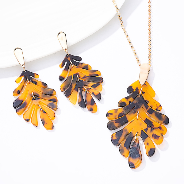 Leaf Necklace and Earrings  Set - Tortoise