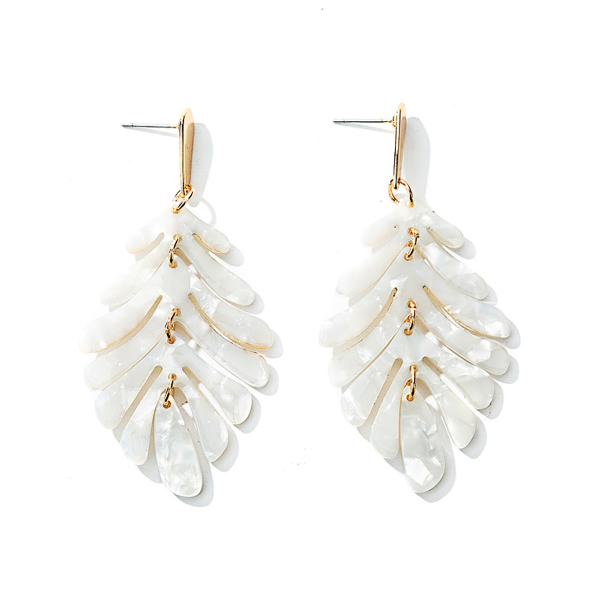 Leaf Necklace and Earrings Set - White