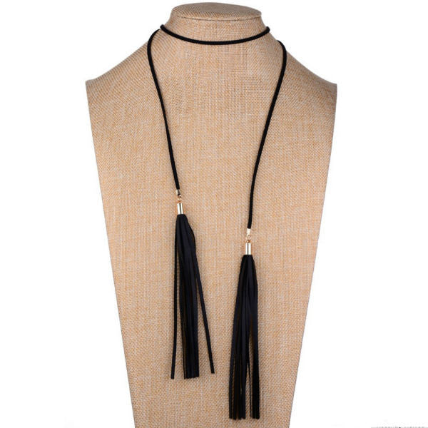 Leather Tassel Choker Necklace