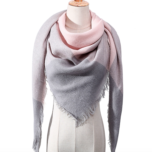 Gray and Pink Triangle Scarf