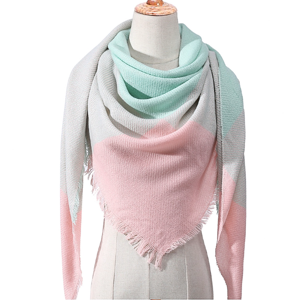 Pink, Gray and Mint Triangle Scarf