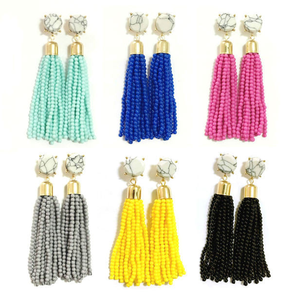 Lolita Beaded Tassel Earrings