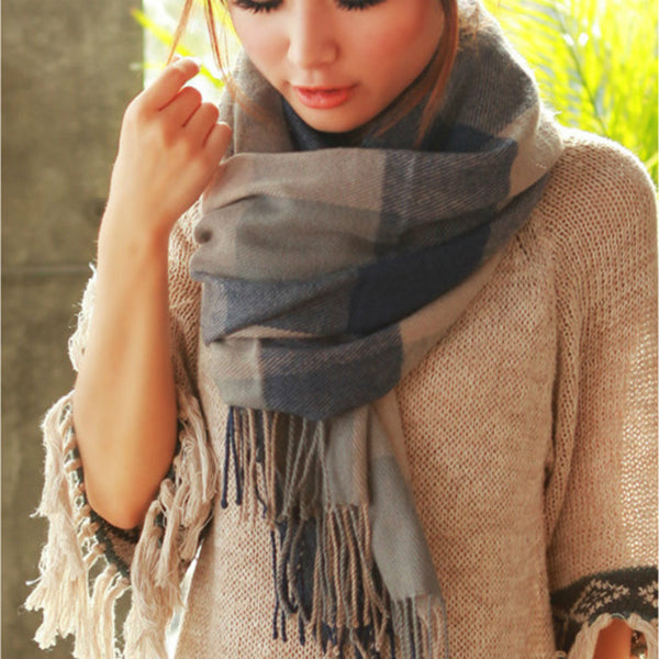Long Scarf w/ Tassels - Blue and Gray
