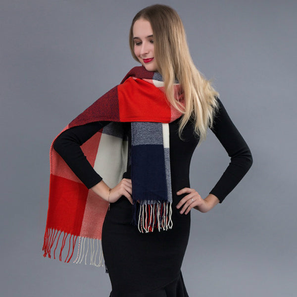 Long Scarf w/ Tassels - Orange and Navy Blue