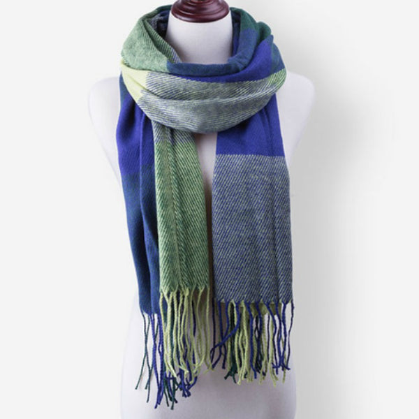 Long Scarf w/ Tassels - Blue and Yellow