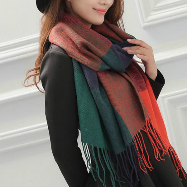 Long Scarf w/ Tassels - Orange and Green