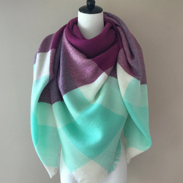 Mint and Purple Blanket Scarf