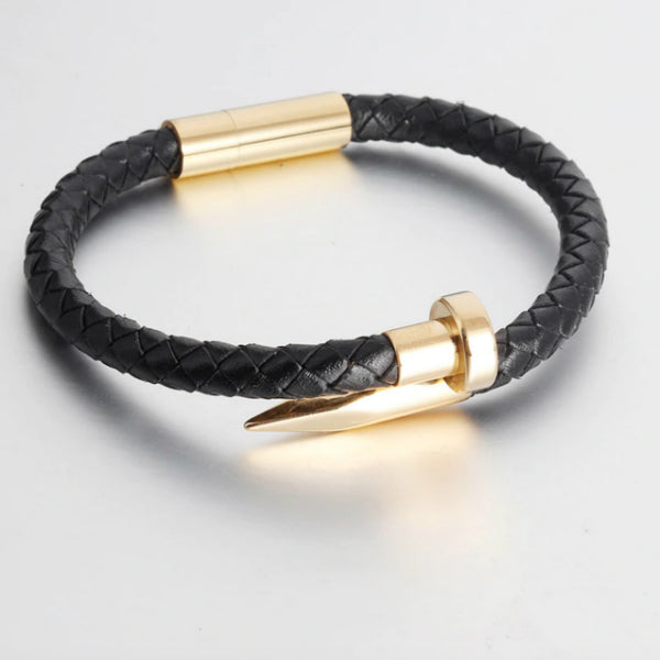 Nail Bracelet - Leather and Stainless Steel
