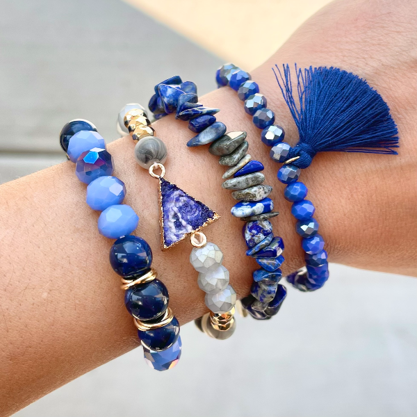 Natural Stone Bracelet Set - Deep Blue