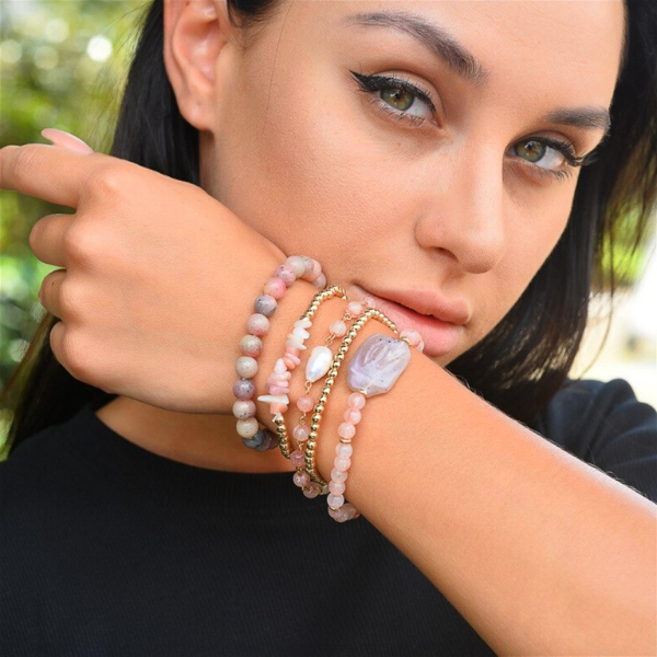 Natural Stone Bracelet Set - Pink Glam