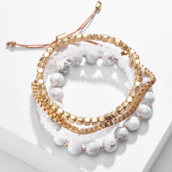 Natural Stone Bracelet Set - White