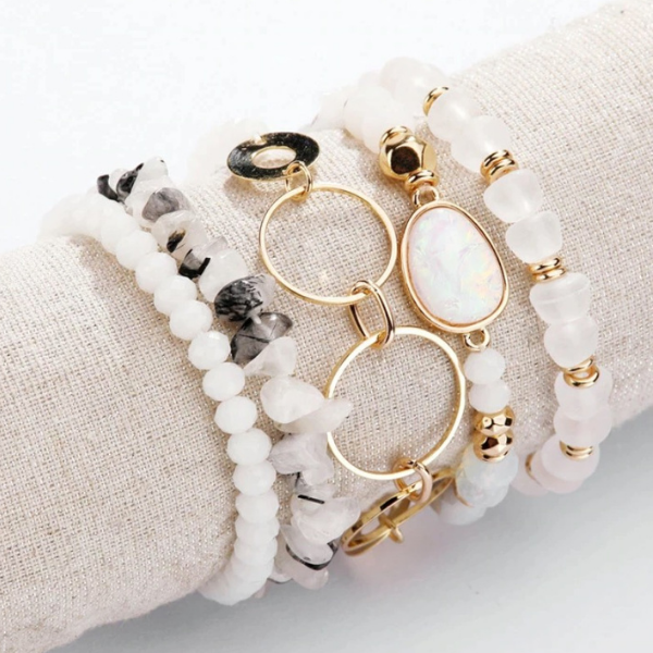 Natural Stone Bracelet Set - White Glam