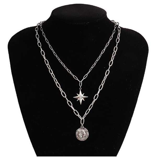 North Star + Coin Layered Necklace - Stainless Steel