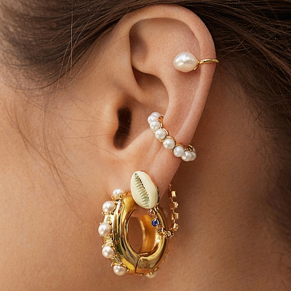 Pearl Beaded Ear Cuff Set
