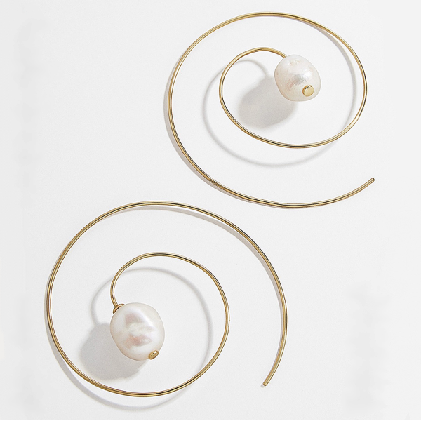 Pearl Swirl Hoop Earrings