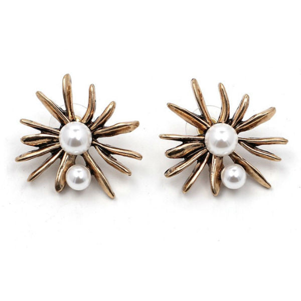 Pearls Sunburst Earrings