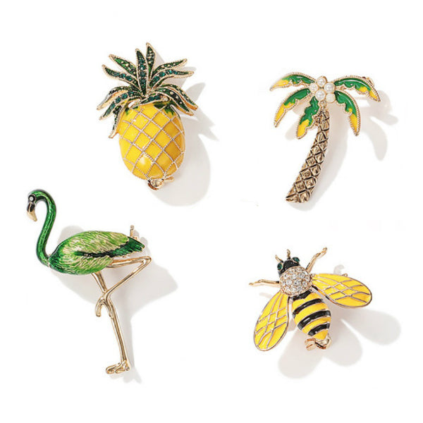Enamel Brooches/Pins - Pineapple, Flamingo, Bee, Palm