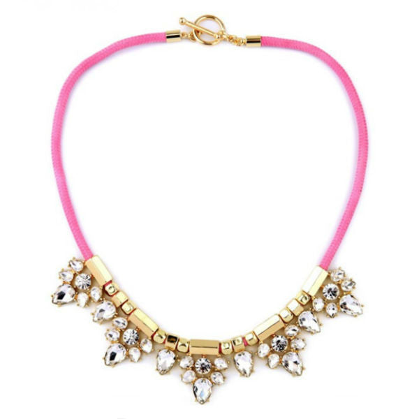 Pink Rope Crystal Statement Necklace