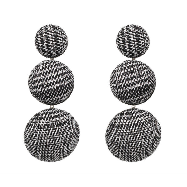 Plaid Button Earrings