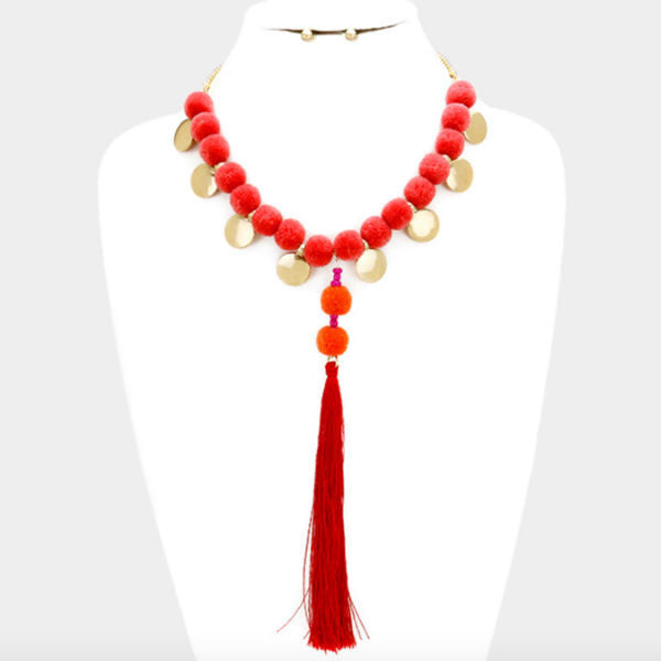 Pom Pom Statement Necklace - Blood Orange