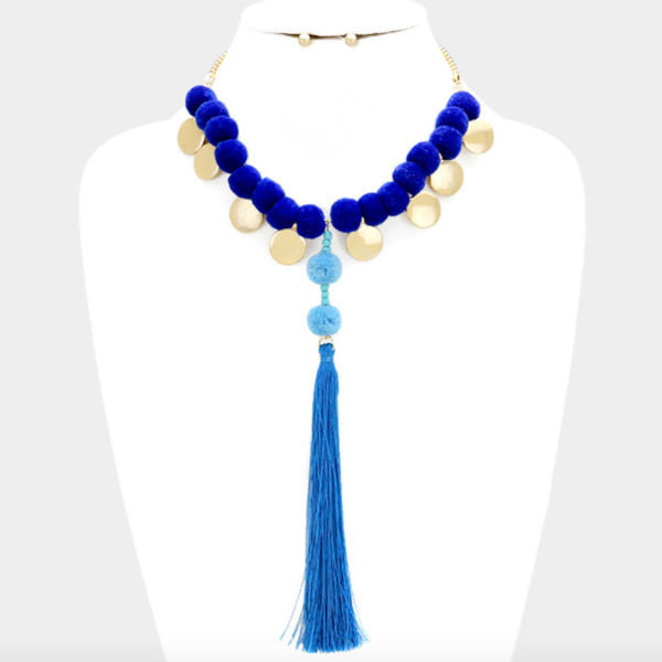 Pom Pom Statement Necklace - Blue