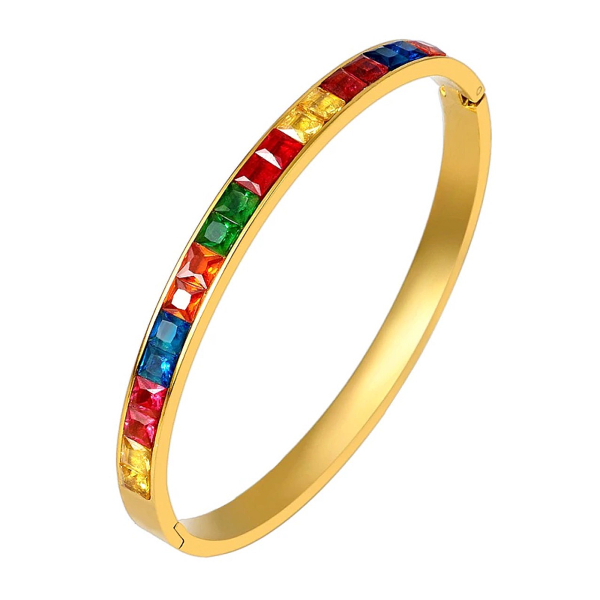 Rainbow Bangle Bracelet - Stainless Steel