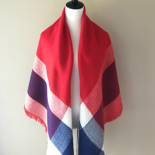 Red, Blue and White Blanket Scarf