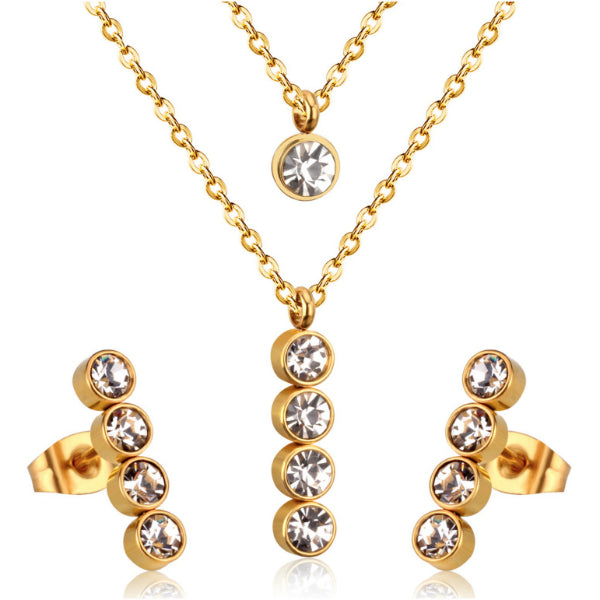 """Red Carpet"" Layered Necklace + Earrings Set - Stainless Steel"